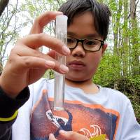 Student observes stream water in a test tube